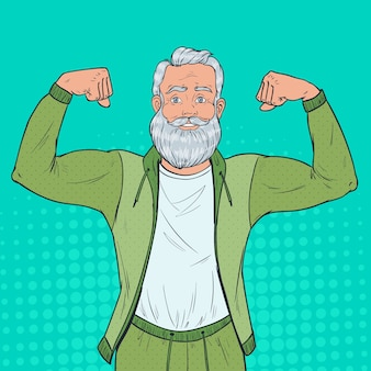 Pop art portrait of mature senior man showing muscles. happy strong grandfather. healthy lifestyle.