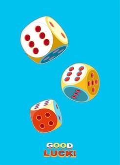 Поп-арт плакат с тремя катящимися счастливыми кубиками, двойная шестерка в небе