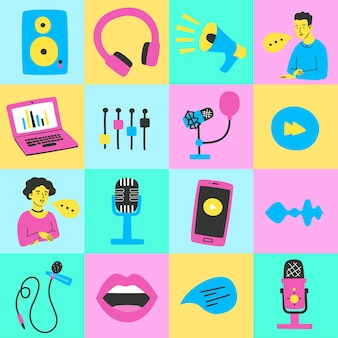 Pop art poster on the topic of a podcast with bright icons in a flat style vector illustration