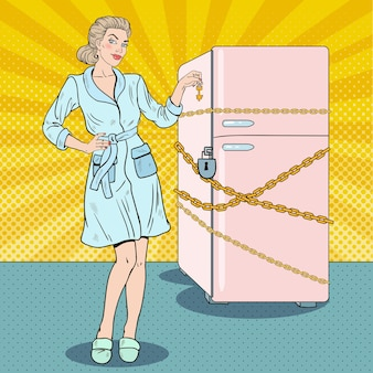 Pop art pretty woman on diet with refrigerator chain and lock