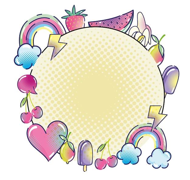 Поп-арт радуга фрукты сердце мороженое речи пузырь этикетка полутоновая иллюстрация