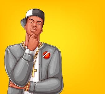 Pop art rap, hip-hop male character