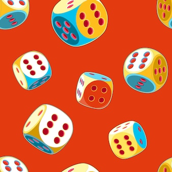 Pop art red seamless pattern of rolling lucky dice double six
