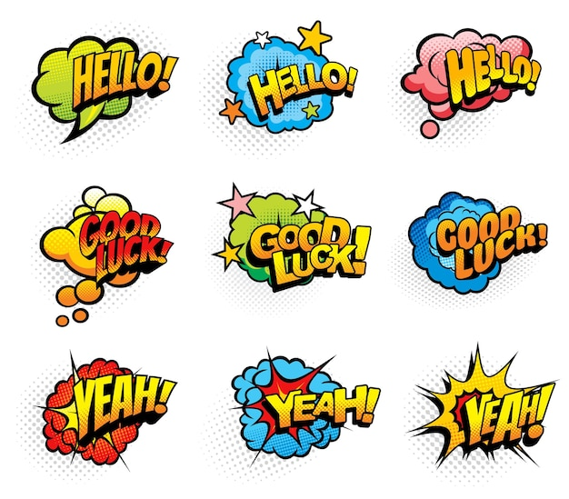 Pop art retro exclamations and wishes speech comic cartoon clouds and explosions bubbles