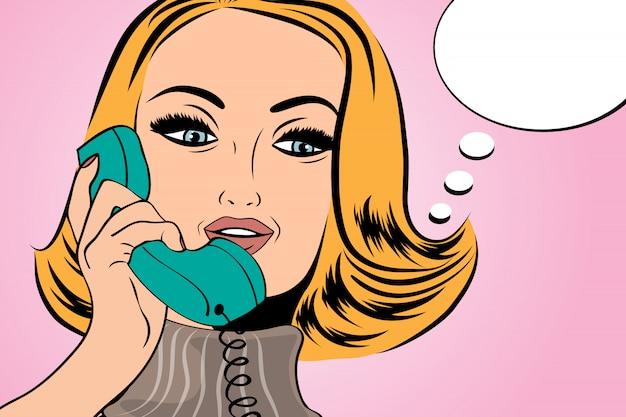 Pop art retro woman talking on the retro phone