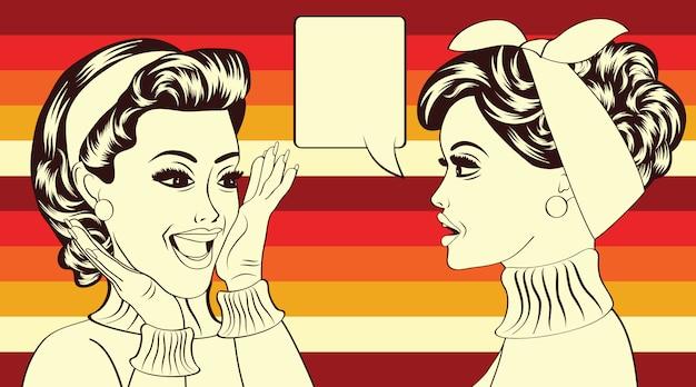 Pop art retro women in comics style that gossip