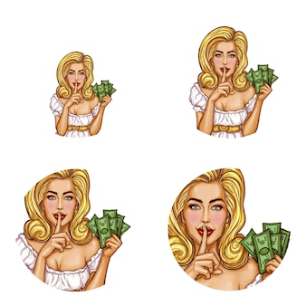 Pop art round avatar icons for users of social networking