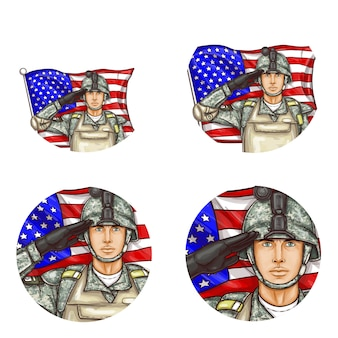 Поп-арт круговой аватар, значки профилей для пользователей социальных сетей, блоги