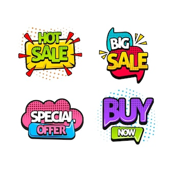 Pop art sales stickers set