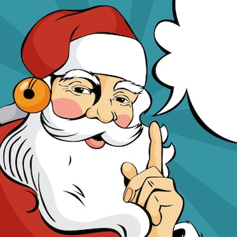 Pop art santa claus in red clothes talking using speech bubble. happy vintage retro character.   illustration