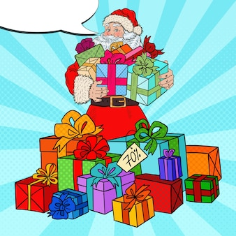 Pop art santa claus with christmas gifts on christmas sale.