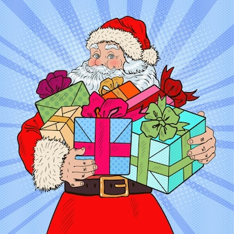 Pop art santa claus with christmas gifts.  illustration