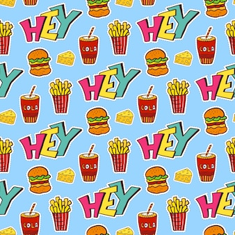 Pop art seamless pattern with food. modern wrapping paper