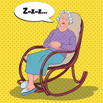 Pop art senior woman sleeping in chair