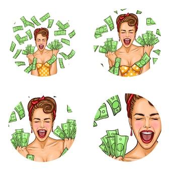 Pop art set of female round avatars