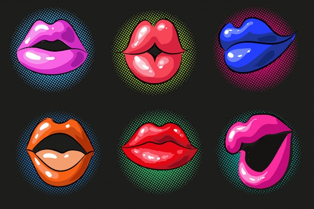 Pop art sexy color female lips