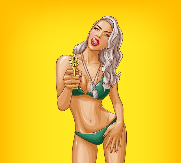 Pop art sexy gangster girl armed with gun