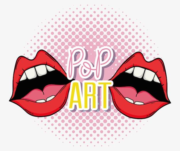 Pop art sexy lips cartoons vector illustration graphic design