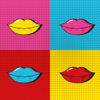 Pop art sexy lips colorful frames