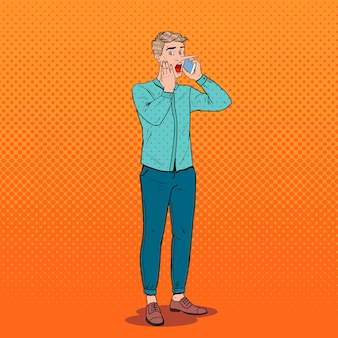 Pop art shocked man with long nose talking on smartphone. fake news concept.