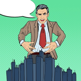 Pop art sinister businessman wants to seize the city.