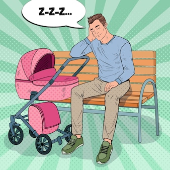 Pop art sleepless young father sitting on the park bench with baby stroller. parenting concept. exhausted man with newborn child.