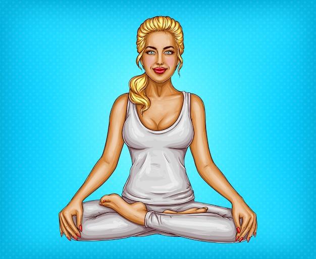 Поп-арт улыбается блондинка делает йога, сидя в позе лотоса или padmasana