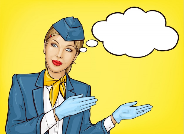 Pop art stewardess in blue uniform