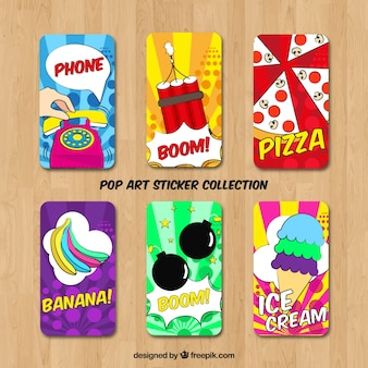 Pop art stickers with colorful style