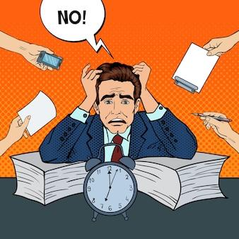 Pop art stressed businessman at multi tasking office work.  illustration