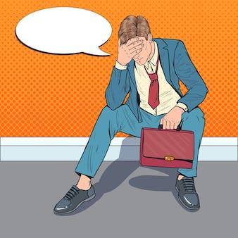 Pop art stressed businessman sitting on the floor