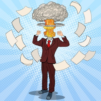 Pop art stressed businessman with explosion head.