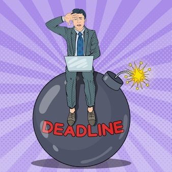 Pop art stressed businessman working on deadline bomb.