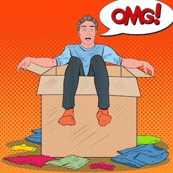 Pop art stressed man in a box Premium Vector