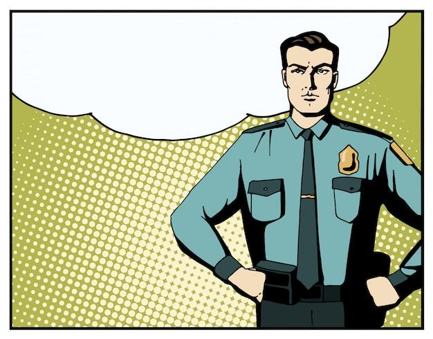 Pop art strong policeman with blank speech bubble.