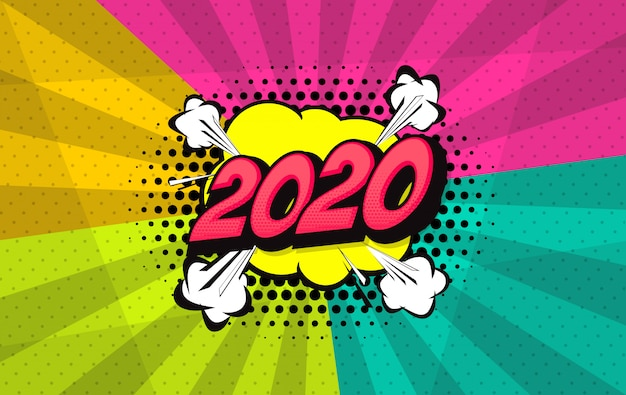 Pop art style 2020 comic background Premium Vector