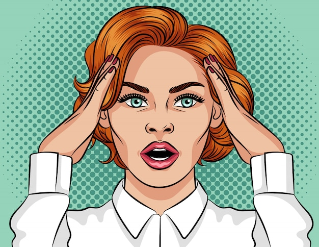 Pop art style illustration of a shocked girl. beautiful girl with open mouth. the girl with red hair holds her hands over her head. the girl is in a panic. emotional frightened woman's face