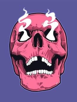 Череп в стиле поп-арт с дымящими глазами. розовый череп