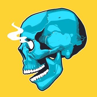 Череп в стиле поп-арт с дымящими глазами. вид сбоку синий череп