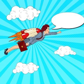 Поп-арт успешная деловая женщина, летящая на ракете. творческий стартап.