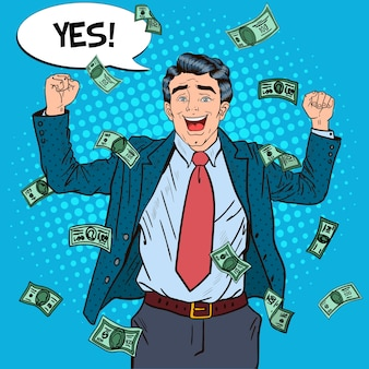 Pop art successful businessman celebrating in falling down money.