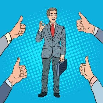 Поп-арт успешный бизнесмен жестами ок. совместная деятельность.