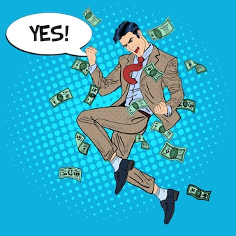 Pop art successful businessman jumping with comic speech bubble yes in falling down money.  illustration