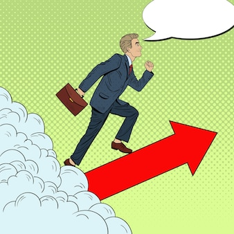 Pop art successful businessman walking to the top through the clouds.