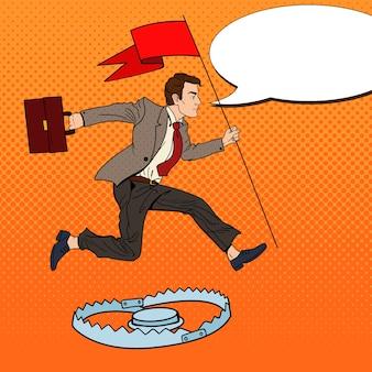Поп-арт успешный бизнесмен с флагом, перепрыгивая через ловушку.