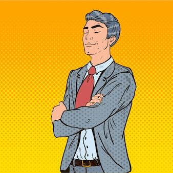 Pop art successful businessman with his eyes closed.