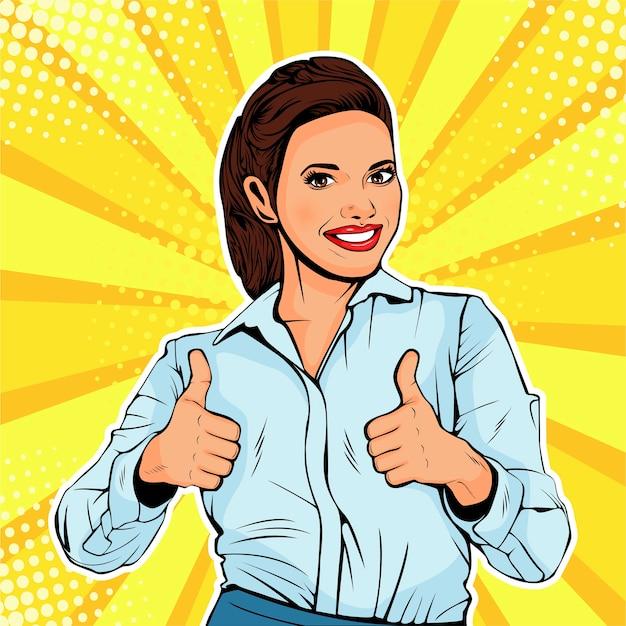 Pop art successful female businesswoman