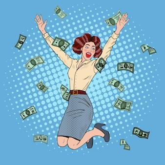 팝 아트 성공적인 점프 비즈니스 여자 돈을 아래로 떨어지는 축하.