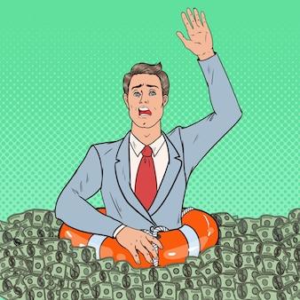 Поп-арт успешный человек тонет в деньгах. бизнесмен с спасательным кругом.