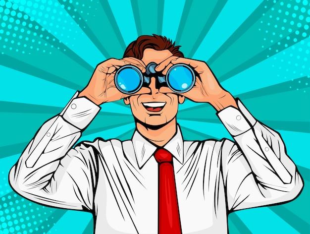 Pop art surprised businessman looking through binoculars.